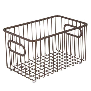 Cheap mdesign metal farmhouse kitchen pantry food storage organizer basket bin wire grid design for cabinets cupboards shelves countertops closets bedroom bathroom 10 long 4 pack bronze
