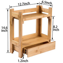 Load image into Gallery viewer, Top pelyn makeup organizer cosmetic storage vanity shelf display stand rack with drawer ideal for bathroom sink countertop dresser natural bamboo