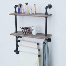 Load image into Gallery viewer, Amazon industrial towel rack with 3 towel bar 24in rustic bathroom shelves wall mounted 2 tiered farmhouse black pipe shelving wood shelf metal floating shelves towel holder iron distressed shelf over toilet