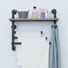 Load image into Gallery viewer, Best industrial towel rack with 3 towel bar 24in rustic bathroom shelves wall mounted farmhouse black pipe shelving wood shelf metal floating shelves towel holder iron distressed shelf over toilet