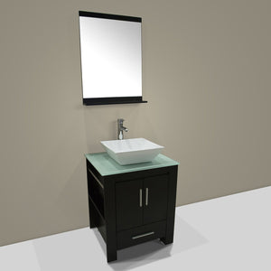 Best walcut 24 inch bathroom vanity and sink combo modern black mdf cabinet ceramic vessel sink with faucet and pop up drain mirror tempered glass counter top