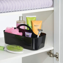 Load image into Gallery viewer, Organize with mdesign plastic portable storage organizer caddy tote divided basket bin with handle for bathroom dorm room holds hand soap body wash shampoo conditioner lotion large 4 pack black