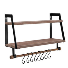 Load image into Gallery viewer, Shop halcent wall shelves wood storage shelves with towel bar floating shelves rustic 2 tier bathroom shelf kitchen spice rack with hooks for bathroom kitchen utensils