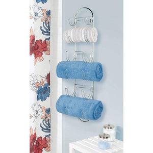 Featured mdesign wall mount metal wire towel storage shelf organizer rack holder with 6 compartments shelves for bathroom towels 2 pack chrome