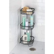 Load image into Gallery viewer, Kitchen mdesign square metal bathroom shelf unit free standing vertical storage for organizing and storing hand towels body lotion facial tissues bath salts 3 shelves steel wire matte black