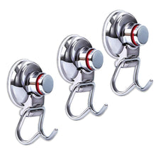Load image into Gallery viewer, Latest suction cup hooks heavy duty vacuum hook wall suction hooks for flat smooth wall bathroom kitchen towel robe loofah stainless steel chrome pack of 3
