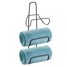 Load image into Gallery viewer, Budget friendly mdesign metal wall mount 3 level bathroom towel rack holder organizer for storage of bath towels washcloths hand towels robes 2 pack bronze