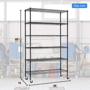 Top rated bestoffice 6 tier wire shelving unit heavy duty height adjustable nsf certification utility rolling steel commercial grade with wheels for kitchen bathroom office 2100lbs capacity 18x48x82 black