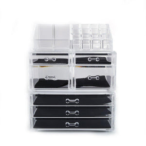 Explore offeir us stock clear acrylic stackable cosmetic makeup storage cube organizer jewelry storage drawers case great for bathroom dresser vanity and countertop 3 pieces set 4 small 3 large drawers