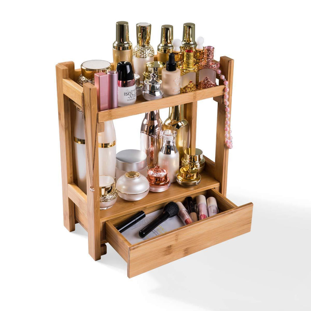 Shop for pelyn makeup organizer cosmetic storage vanity shelf display stand rack with drawer ideal for bathroom sink countertop dresser natural bamboo