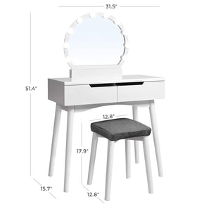 Storage vasagle vanity table set with 10 light bulbs and touch switch dressing makeup table desk with large round mirror 2 sliding drawers 1 cushioned stool for bedroom bathroom white urdt11wl