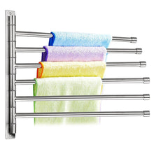 Load image into Gallery viewer, Budget sumnacon wall mounted swing towel bar silver stainless steel bath towel rod arm bathroom kitchen swivel towel rack hanger holder organizer folding space saver towel rail 6 bar