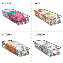 Load image into Gallery viewer, Cheap mdesign household wire drawer organizer tray storage organizer bin basket built in handles for kitchen cabinets drawers pantry closet bedroom bathroom 16 x 6 x 3 8 pack bronze