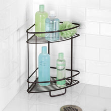 Load image into Gallery viewer, Exclusive interdesign axis free standing bathroom or shower corner storage shelves for towels soap shampoo lotion accessories soap 2 tier bronze