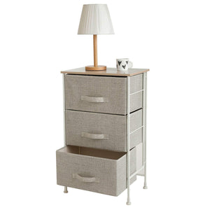 Organize with leaf house fabric 3 drawer storage organizer unit nightstand for nursery closet bedroom bathroom entryway beige no tools required
