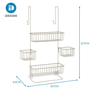 Get idesign metalo bathroom over the door shower caddy with swivel storage baskets for shampoo conditioner soap 22 7 x 10 5 x 8 2 satin