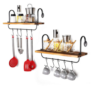 Amazon best o kis wall floating shelves for kitchen bathroom coffee nook with 10 adjustable hooks for mugs cooking utensils or towel rustic storage shelves set of 2