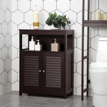 Load image into Gallery viewer, Budget vasagle bathroom storage floor cabinet free standing cabinet with double shutter door and adjustable shelf brown ubbc40br
