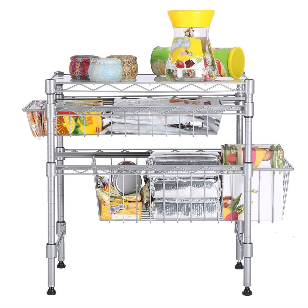 Buy now rackaphile stackable 2 tier sliding basket organizer drawer under sink cabinet with adjustable leveling feet rack shelf for bathroom kitchen closet office desktop silver