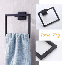 Load image into Gallery viewer, Storage kes bathroom accessories toilet paper holder towel ring sus304 stainless steel rustproof 2 piece morden wall mount matte black finish la24bk 21