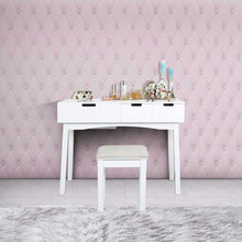 Load image into Gallery viewer, The best vanity set with dressing table flip top mirror organizer cushioned stool makeup wooden writing desk 2 drawers easy assembly beauty station bathroom white