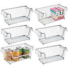 Load image into Gallery viewer, Shop for mdesign modern farmhouse metal wire household stackable storage organizer bin basket with handles for kitchen cabinets pantry closets bathrooms 12 5 wide 6 pack chrome