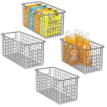 Load image into Gallery viewer, Order now mdesign farmhouse decor metal wire food storage organizer bin basket with handles for kitchen cabinets pantry bathroom laundry room closets garage 12 x 6 x 6 4 pack graphite gray