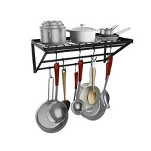 Load image into Gallery viewer, Results homevol kitchen wall mounted pot rack with 10 hooks multi functional storage rack shelf organizer ideal for bathroom household items and kitchen cookware utensils pans books