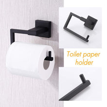 Load image into Gallery viewer, Shop here kes bathroom accessories toilet paper holder towel ring sus304 stainless steel rustproof 2 piece morden wall mount matte black finish la24bk 21
