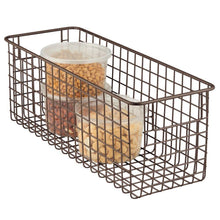 Load image into Gallery viewer, Buy mdesign farmhouse decor metal wire food storage organizer bin basket with handles for kitchen cabinets pantry bathroom laundry room closets garage 16 x 6 x 6 4 pack bronze