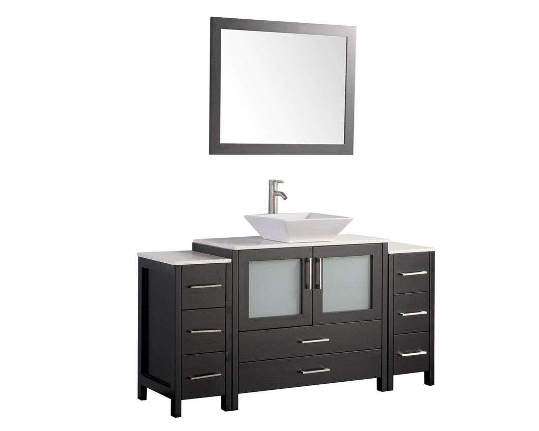 Discover the vanity art 60 inch bathroom vanity set single ceramic sink top with mirror 8 drawers one large folding door drawer perfect bathroom organizer espresso va3136 60