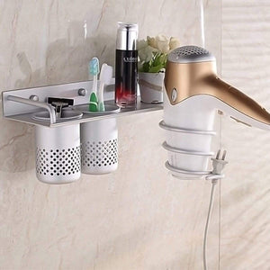 On amazon multifunctional bathroom organizer storage wall mount toothbrush holder and hair dryer holder bathroom wall shelf with storage cup for blow dryer flat iron curling wand straightener a
