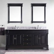 Load image into Gallery viewer, New virtu usa gd 4072 wmsq dw huntshire 72 double bathroom vanity with marble top and square sink with mirrors 72 inches dark walnut
