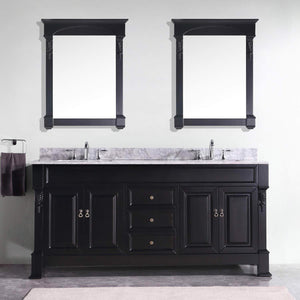 New virtu usa gd 4072 wmsq dw huntshire 72 double bathroom vanity with marble top and square sink with mirrors 72 inches dark walnut