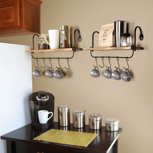 Budget o kis wall floating shelves for kitchen bathroom coffee nook with 10 adjustable hooks for mugs cooking utensils or towel rustic storage shelves set of 2