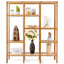 Load image into Gallery viewer, Great autentico 5 tiers design multifunctional bamboo shelf storage organizer plant rack display stand solid construction waterproof moistureproof perfect for bathroom balcony kitchen indoor outdoor use