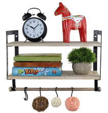 Load image into Gallery viewer, Heavy duty spiretro wall mount 2 tier floating shelves with metal bracket rustic torched wood with removable towel rod and s hooks to storage organize hang and display for kitchen book study bathroom grey