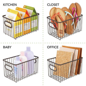 Explore mdesign metal bathroom storage organizer basket bin modern wire grid design for organization in cabinets shelves closets vanity countertops bedrooms under sinks 4 pack bronze