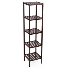 Load image into Gallery viewer, Shop here songmics 100 bamboo bathroom shelf 5 tier multifunctional storage rack shelving unit bathroom towel shelf for kitchen livingroom bedroom hallway brown ubcb55z