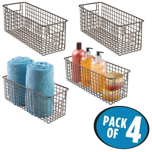 Order now mdesign bathroom metal wire storage organizer bin basket holder with handles for cabinets shelves closets countertops bedrooms kitchens garage laundry 16 x 6 x 6 4 pack bronze