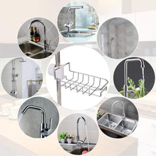 Load image into Gallery viewer, Discover leefe 2pcs kitchen faucet sponge holder stainless steel storage rack hanging sink caddy organizer for scrubbers soap bathroom detachable no suction cup or magnet no drilling
