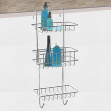Load image into Gallery viewer, Shop here hontop shower caddy storage organizer with 3 baskets over the door rack for bathroom kitchen storage shelves toiletries spice towel and soap holder