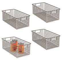 Load image into Gallery viewer, Buy now mdesign farmhouse decor metal wire food organizer storage bin basket with handles for kitchen cabinets pantry bathroom laundry room closets garage 16 x 9 x 6 in 4 pack bronze