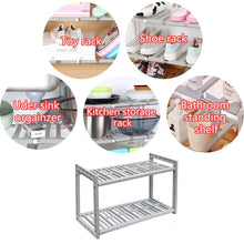 Load image into Gallery viewer, Budget friendly yomym under cabinet sink organizer 2 tier expandable shelf organizer rack for bathroom pantry or kitchen storage cabinets organization and storage adjustable shelves in heavy duty plastic and metal
