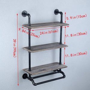 Select nice industrial bathroom shelves wall mounted with 2 towel bar 24in rustic pipe shelving 3 tiered wood shelf black farmhouse towel rack metal floating shelves towel holder iron distressed shelf over toilet