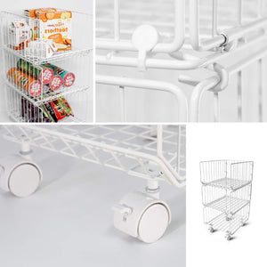 Discover the best pup joint metal wire baskets 3 tiers foldable stackable rolling baskets utility shelf unit storage organizer bin with wheels for kitchen pantry closets bedrooms bathrooms