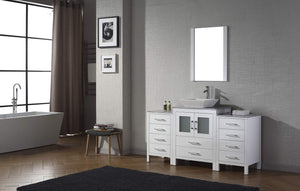 Budget virtu usa dior 60 inch single sink bathroom vanity set in white w square vessel sink italian carrara white marble countertop single hole polished chrome 1 mirror ks 70060 wm wh