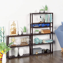 Load image into Gallery viewer, Storage organizer homfa bamboo shelf 3 tier utility storage organizer adjustable layer rack bathroom towel shelves multifunctional kitchen living room holder wall mounted retro color