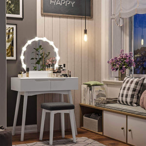 Top rated vasagle vanity table set with 10 light bulbs and touch switch dressing makeup table desk with large round mirror 2 sliding drawers 1 cushioned stool for bedroom bathroom white urdt11wl