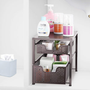 Budget simple trending 2 tier under sink cabinet organizer with sliding storage drawer desktop organizer for kitchen bathroom office stackbale bronze